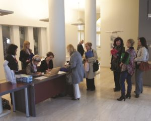 Registration desk in the beautiful 'nadbiskupijski pastoralni institut' in Zagreb