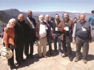 Left to right: María Guinand (Venezuela), Jorge Alejandro Salazar (Colombia), Robert Harris (USA), Oscar Escalada (Argentina), Josep Vila (Spain), Francesco Leonardi (Italy), Jorge Córdoba (México) and Ricardo Denegri (Argentina) at Monserrate sanctuary