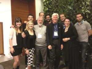 Michael Anderson, IFCM President, and Oscar Escalada, with the Swingle Singers