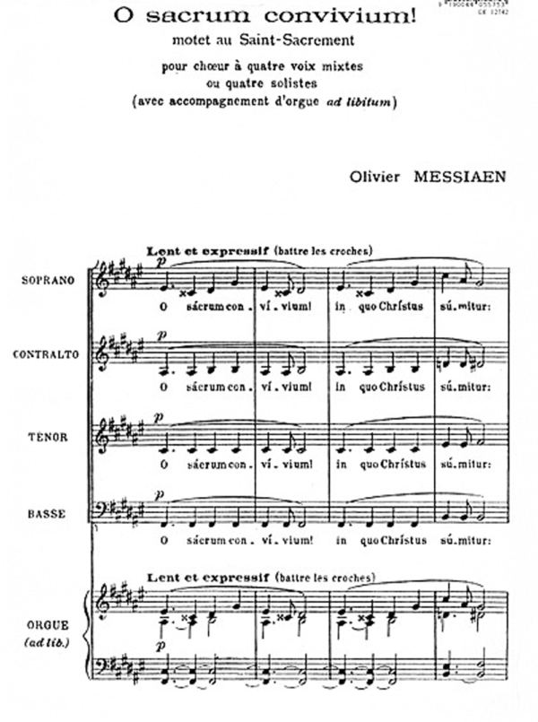 "The first page of the ""O Sacrum Convivium"" by O. Messiaen"