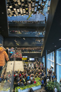 More than 600 choir singers in the Harpa Music Hall