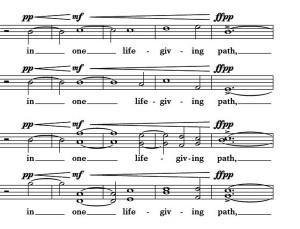 """Example 15 - DiOrio - """"O Virtus Sapientiae,"""" m. 21-25."""