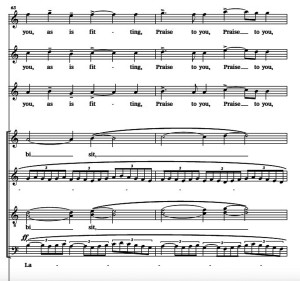"""Example 17 - DiOrio - """"O Virtus Sapientiae,"""" m. 63-64."""