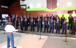 The 'Centenial Male Choir of Pipkin' (Choeur d'Hommes du Centenaire) conducted by Ambroise Kua-Nzabmi Toko and Lajoie Makiese