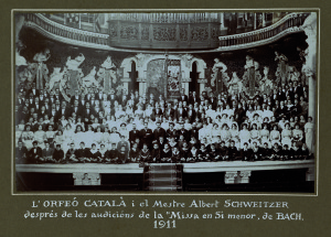 The 'Orfeo Català' with Albert Schweitzer after the concert of the Mass in B minor by J. S. Bach (1911)