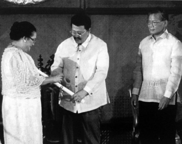 Veneracion receiving her award as National Artist for Music, from Philippine President Joseph Estrada in 1999