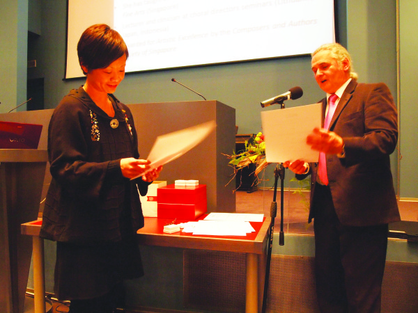 Ars Choralis 2012: Jennifer Tham receives a diploma issued by the Croatian Choral Directors Association