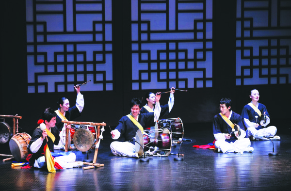 Samul nori, a traditional music originating in Korea, is performed with four percussion instruments