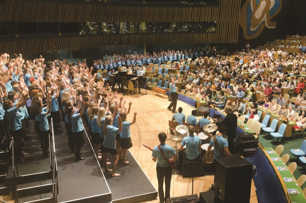 "Sat, 30 June 2012 Rhythms of One World Festival Closing Concert at the UN: Finale Massed Choir Performance by 2012 Festival Participating Choirs: ""Rhythms of One World"" (World Premiere) written and directed by Festival Artistic Director Gary Fry ©Dmitry Popov, UN Staff"