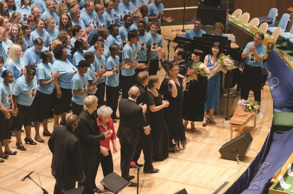 Sat, 30 June 2012 Rhythms of One World Festival Closing Concert at the UN: Final Bow by 2012 Festival Participating Choirs Music Directors and Artistic Management (left to right): John Arnold, Signal Hill Alumni Choir (Trinidad & Tobago); Bernard Kruger, Kearsney College Choir (South Africa); Selina Midkiff, Appalachian Children's Chorus (USA); Thomas Raoult, Voices International (Luxembourg); Dr. Philip Matthias, University of Newcastle Chamber Choir (Australia); AnneKarin Sundal-Ask, Norwegian Girls Choir (Norway); Barbara Ouellette, County Town Singers (Canada); Alexandru Ciorobea, First Secretary: Permanent Mission of Romania to the United Nations; Ambassador Simona Miculescu, Permanent Mission of Romania to the United Nations (concert host); Yin-Chu Jou, FAF Artistic Director, Festival Founder and Manager; Gary Fry, Rhythms of One World Festival Artistic Director ©Dmitry Popov, UN Staff
