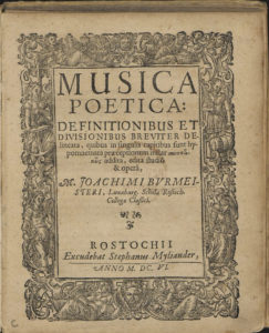 Joachim Burmeister: Musica poetica: Definitionibus et divisionibus breviter delineata, Rostock, S. Myliander, 1606.