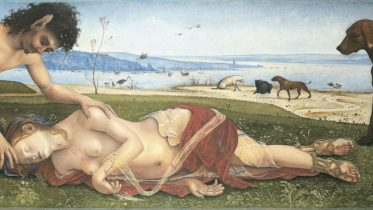 A Satyr mourning over a Nymph, about 1495. Oil on poplar, 65.4 x 184.2 cm. Bought, 1862 (NG698).