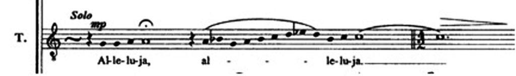 """Karai, """"Allelua"""", m. 1"""
