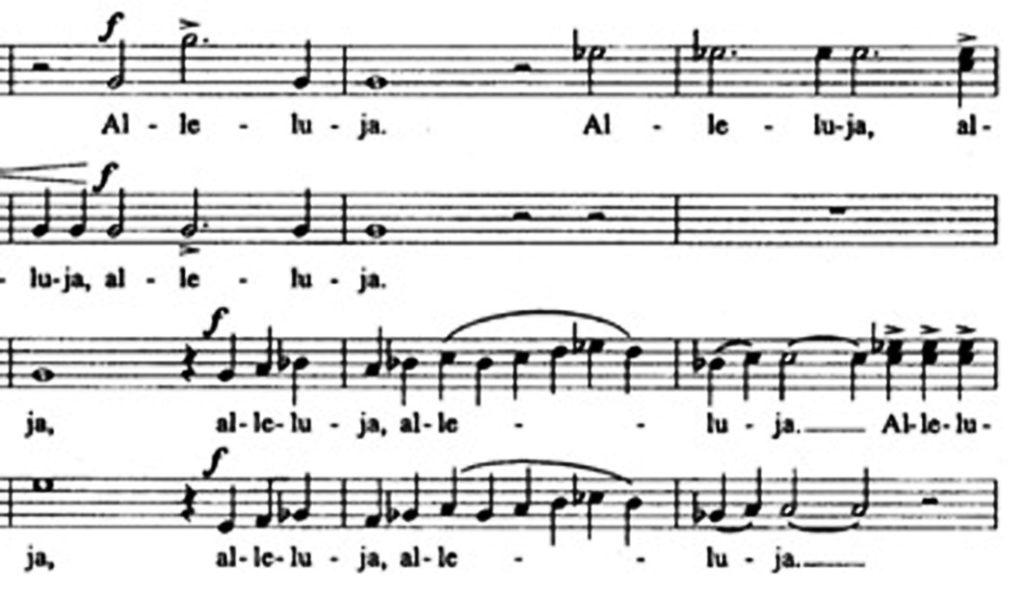 """Karai, """"Allelua"""", m. 3-5"""