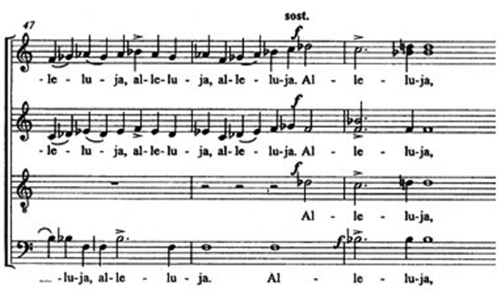 """Karai, """"Allelua"""", m. 47-49"""