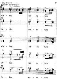 "Szokolay, ""Cantate Domino,"" m. 95-96"