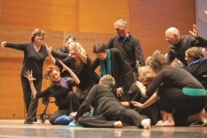 "Members of Minnesota Chorale perform choreography for ""Sagitta"" by Mary Ellen Childs -  © Anthony Kwan"