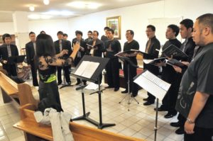Rehearsal time for the Volga Male Chorus Bandung, Indonesia