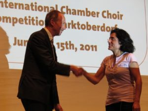 Martin Eifler (German State Ministry for Culture and Media) with Nuria Fernandez Herranz at the Prize Ceremony
