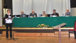"Fifth International Choir Conducting Competition 'Towards Polyphony"": the jury panel. Left to right: Janis Lindenbergs (Latvia), Ryszard Zimak (Poland), Zofia Urbanyi-Krasnodębska (Poland), Hans Jaskulsky (Germany), Andrea Angelini (Italy). Speaker: Marta Kierska-Witczak"