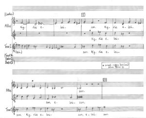 Palestrina, Missa Papæ Marcelli, Kyrie I, bars 14-19. Altus recomposed as two discrete voices: 'A I' and 'T II' in a modern transcription. Music transposed down a tone from 'visual pitch'. Original Tenor I notated as small notes for reference. Upper voice of the two 'new' voices notated in small notes where it has 'roamed' to original Tenor I and is in unison with this part, in normal notes where it takes original Altus line. Lower voice of the two 'new' voices notated in small notes where it has entered with original Tenor I and is in unison with this part, in normal notes where it has 'roamed' to the original Altus line.