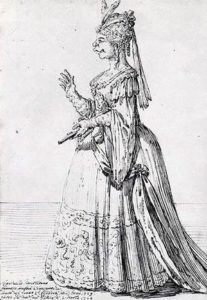 A caricature of the famous castrato Farinelli in a female role, by Pier Leone Ghezzi 1724