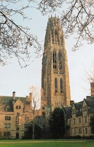 Harkness Memorial Tower, erected in 1921, rises over the campus