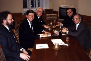 Royce Saltzman, the IFCM Board during a meeting with the USSR Ministry of Culture, Moscow, 1989