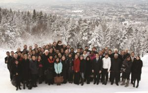 The WYC with Ambassador Dho Young-shim in the Nordmarka Forest of Oslo (December 2011) - David Baldwin © Foundation World Youth Choir