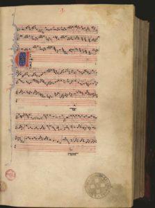 A page from the 'Magnus Liber Organi  de Gradali et Antiphonario', Firenze, Biblioteca Medicea Laurenziana, Pluteus 29.1