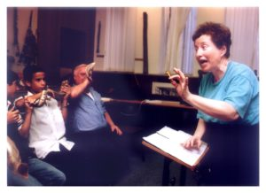 Tsippi Fleischer with Shofar players during rehearsals of Symphony No. 5
