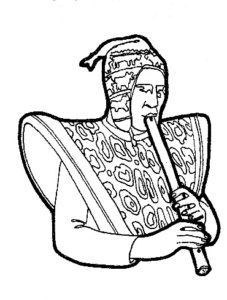 "Man playing a ""quena"", an aerophone made of cane"