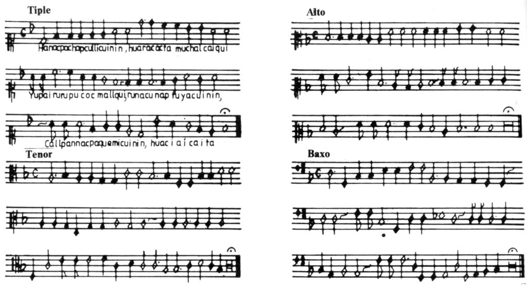 Hanaqpachap First composition in several parts written in the New World