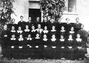 "Choral Mass of the Polytechnic Institute, actually ""Interamerican University of Puerto Rico""; a 1940 photo. This choir was the first university choir organized in Puerto Rico. It was organized in 1933 by Dr. Bartolomé Bover who conducted it until 1945"