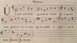 """UT QUEANT LAXIS"" from a contemporary copy of the antiphonale monasticum"