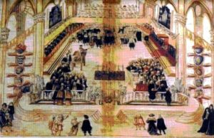 "An example of sacred choral music concerts in the Baroque age. The miniature shows the ceremony at which Alfonso Litta was elected a cardinal by the Papal Legate, cardinal Carafa, in 1666, and is taken from ""Insignia degli anziani del Comune dal 1530 al 1796"", in E. MAULE, Momenti di festa musicale sacra a Bologna nelle Insignia degli Anziani (1666–1751), in «Il Carrobbio», XIII, Luigi Parma, Bologna 1987, p. 261. The choir can be seen placed at the centre, with two musical ensembles at the sides, and two organs behind."
