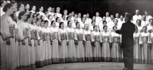 V . ovdo is conducting the USSR State Academic Russian chorus in Zagorsk, 1953