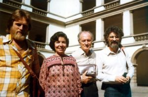 Left to right: José Pedro Boéssio, Lúcia Passos, José Vieira Brandão and Samuel Kerr, at the first session of FUNARTE Choral Panels, in Rio de Janeiro, 1981