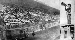 Villa-Lobos directing the Orpheonic choirs at São Januário Stadium - Photo:  Museu Villa-Lobos Archives